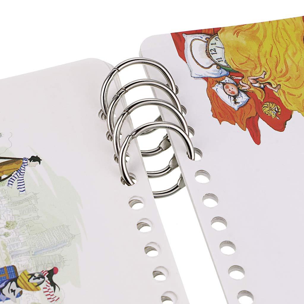 documents et /échantillons BSTKEY Lot de 100 anneaux de reliure en m/étal 5 tailles diff/érentes argent anneaux de reliure pour cartes