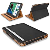 "MOFRED® New Black & Tan Apple iPad 9.7 inch (Launched 2017) Leather Case-MOFRED®- Executive Multi Function Leather Standby Case for Apple New iPad 9.7"" (2017) with Built-in magnet for Sleep & Awake Feature -- Independently Voted by ""The Daily Telegraph"" as #1 iPad Case!"