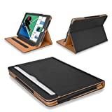 """MOFRED® New Black & Tan Apple iPad 9.7 inch (Launched 2017) Leather Case-MOFRED®- Executive Multi Function Leather Standby Case for Apple New iPad 9.7"""" (2017) with Built-in magnet for Sleep & Awake Feature -- Independently Voted by """"The Daily Telegraph"""" as #1 Bestseller iPad Case!"""