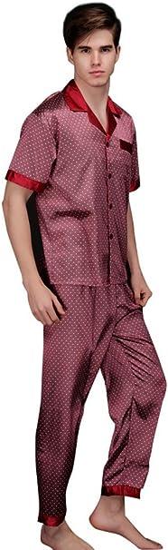 NiSeng Hombre Pijamas Corto Seda Verano Camisones Modelo de Punto