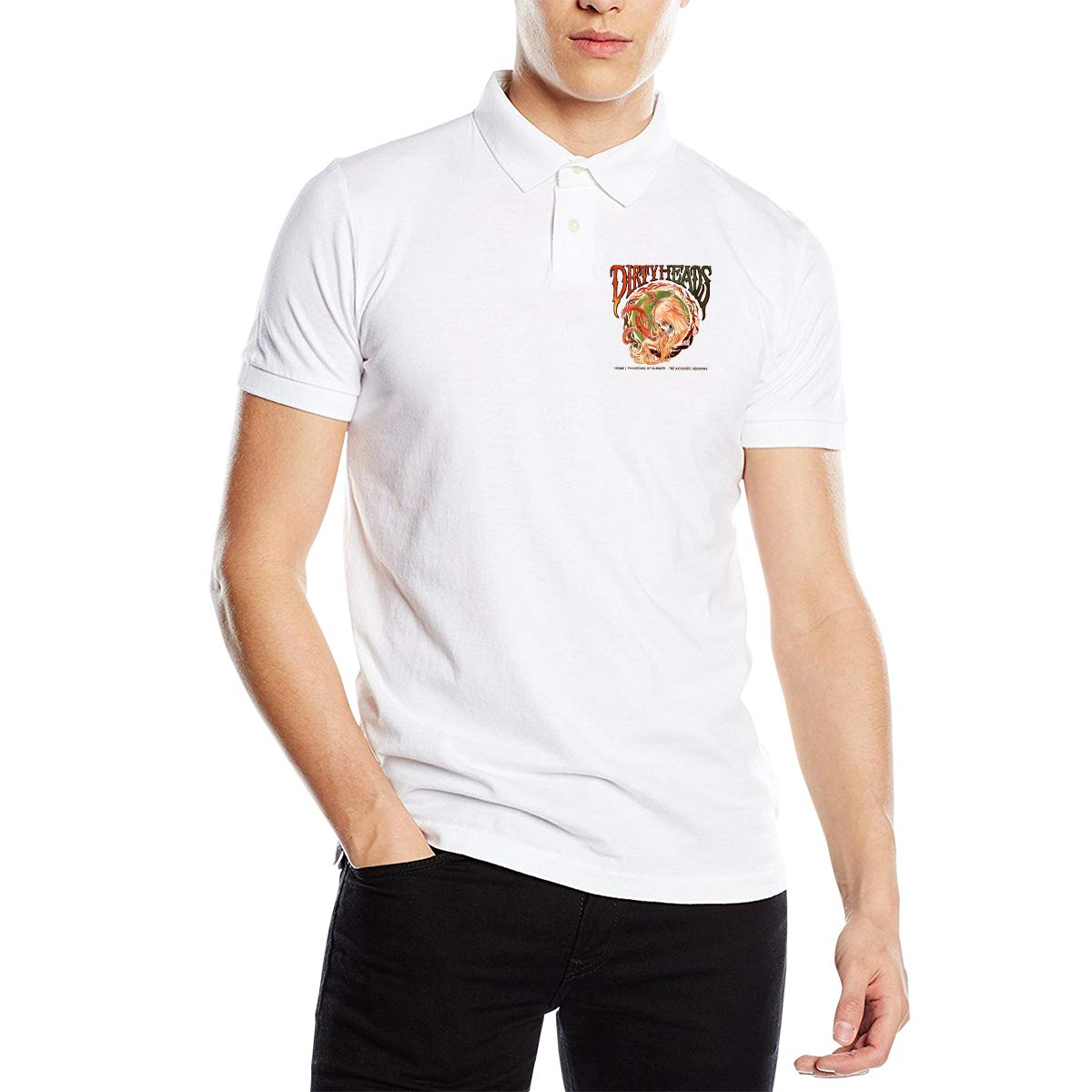 Arilce Dirty-Heads Men Polo Shirt Short Sleeve Lapel Blouse Black