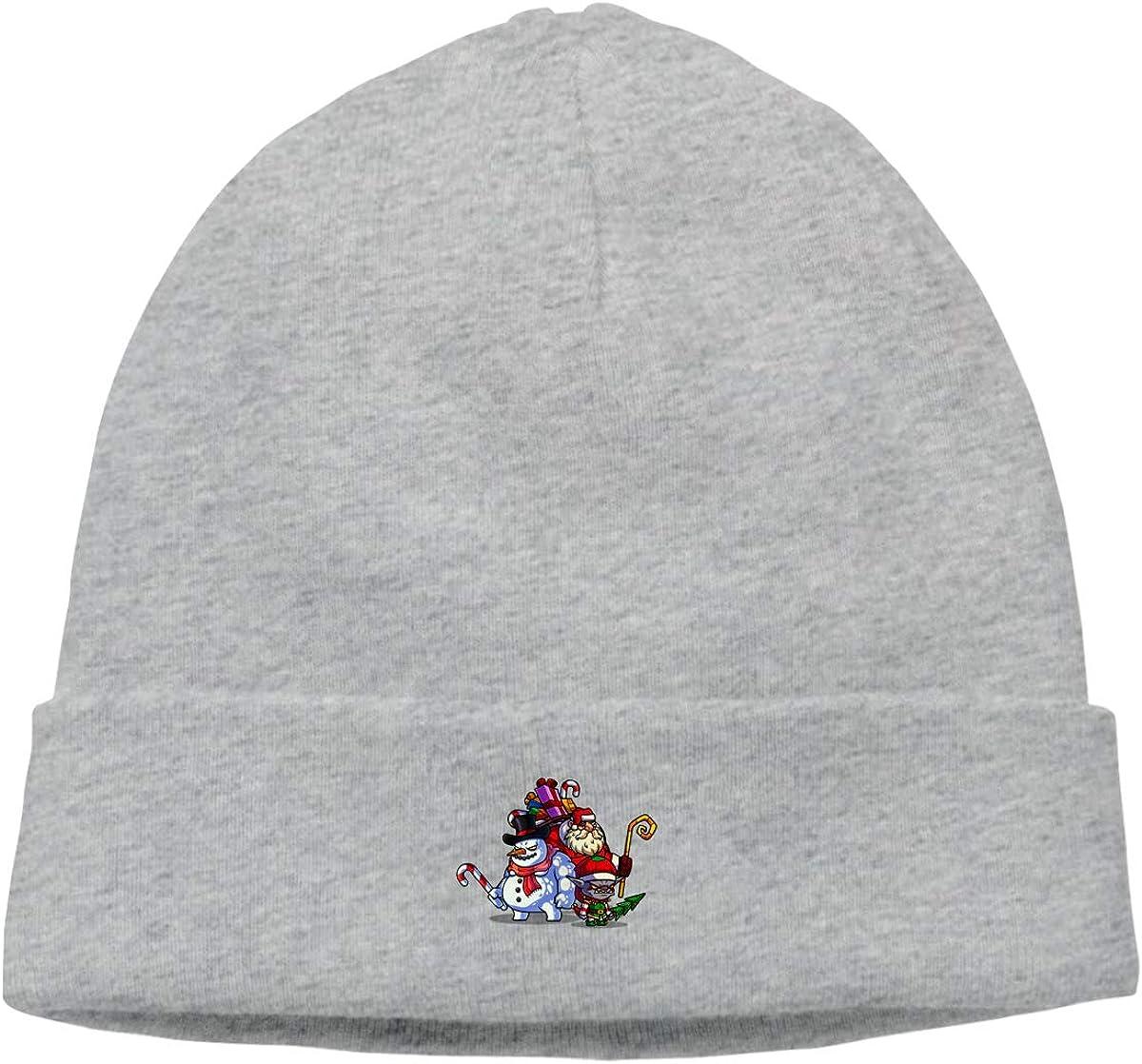 Snowman Santa Claus Knit Caps Knit Hat Skull for Men Gray