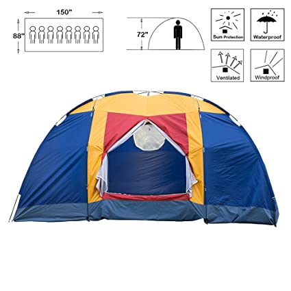 f6e38bcbb8 BOSON 8 Person Easy Setup Family Large Tent for Traveling Camping Hiking  Backpacking with Portable Bag