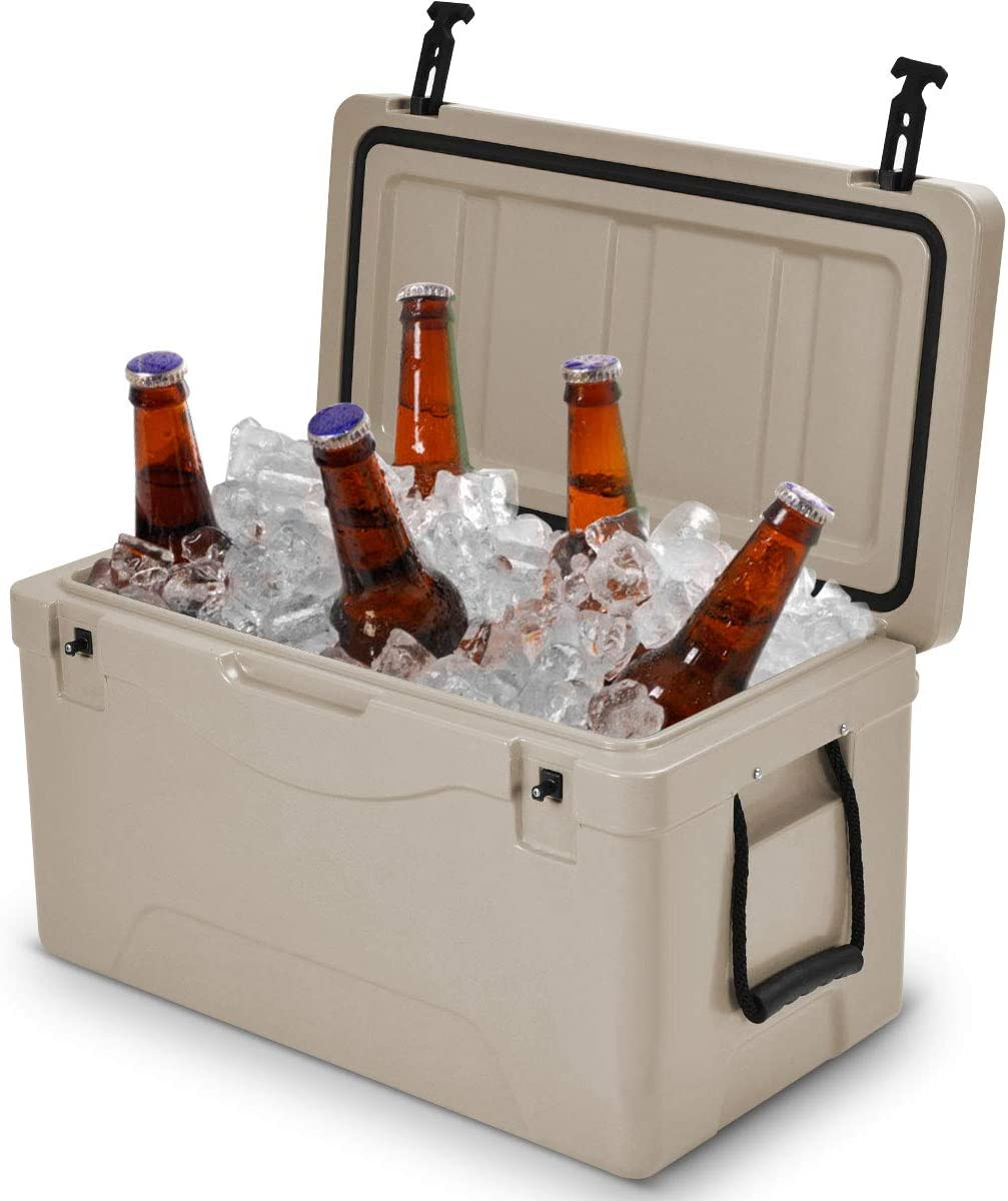 Giantex 64 Quart Heavy Duty Cooler Ice Chest Outdoor Insulated Cooler Fishing Hunting Sports Grey