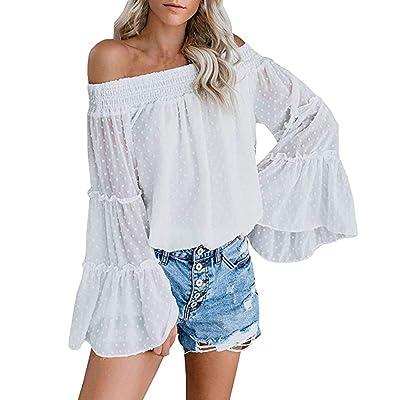 ღLILICATღ Camisetas Mujer Manga Larga Encaje 2019 Nuevo Moda Playa de Verano Camisetas Mujer Blanca Gasa Sexy Fuera del Hombro Casual Suelto Tops Blusa: Belleza