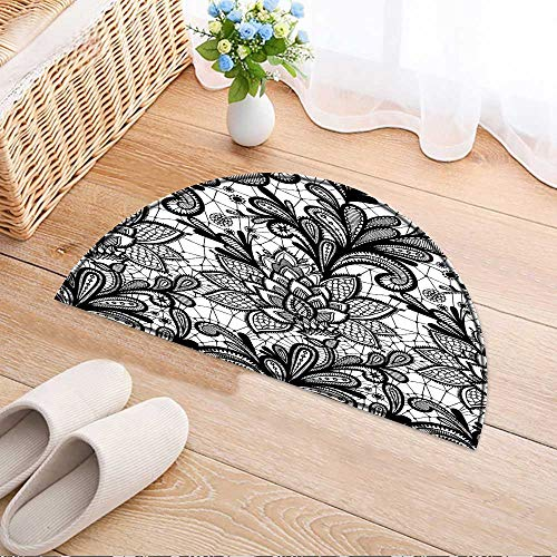Grunge Lace - Entrance Hall Carpet Seamless lace Floral Pattern Vintage Invitation Grunge Background with lace Ornament Black and Whit Non Slip Rug W59 x H35 INCH