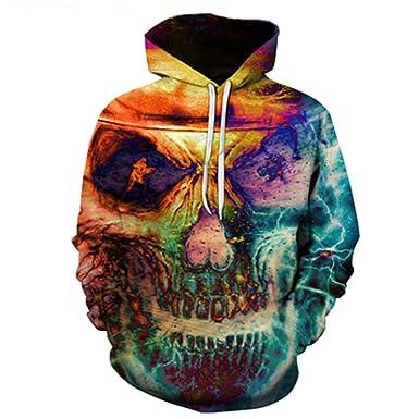 HensGalis Red Skull 3D Imprime suéteres con Capucha Hombres ...