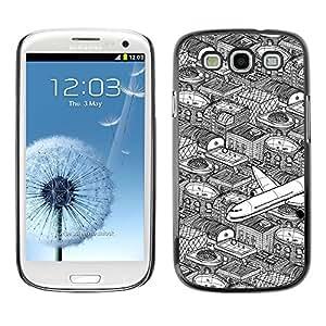 TopCaseStore / la caja del caucho duro de la cubierta de protección de la piel - City Flight Pen Art White Black - Samsung Galaxy S3 I9300