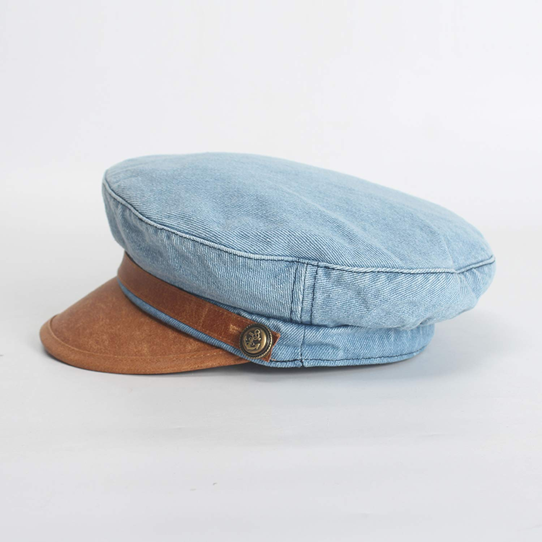 Vintage Denim Newsboy Caps for Women Autumn Casual Octagonal Cap Sombrero