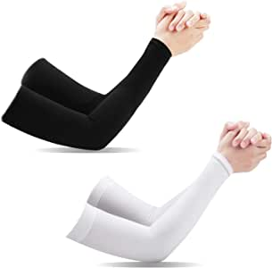 [ 2 Pairs ] UV Protection Cooling Arm Sleeves, Tersely Arm Warmers for Men Women Youth Arm Support for Cycling Baseball Basketball Driving,Arm Compression Sleeves-Black White,One Size Fit Most