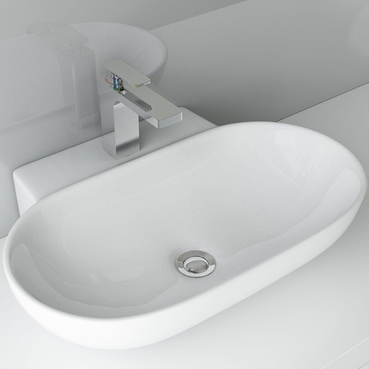 DESIGN KERAMIK AUFSATZWASCHBECKEN WASCHTISCH WANDMONTAGE FÜR BADEZIMMER  GÄSTE WC A86: Amazon.de: Baumarkt