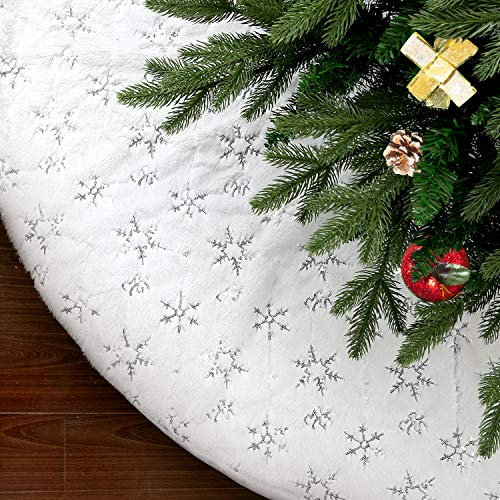 SAVITA 48 Inches Christmas Tree Skirt, Luxury Faux Fur Christmas Tree Skirt, Soft Snowy White Tree Skirt for Xmas Party Holiday Decorations (Skirt White Brocade)