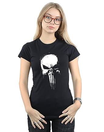 9f0375751 Amazon.com: Marvel Women's Punisher Spray Skull T-Shirt: Clothing