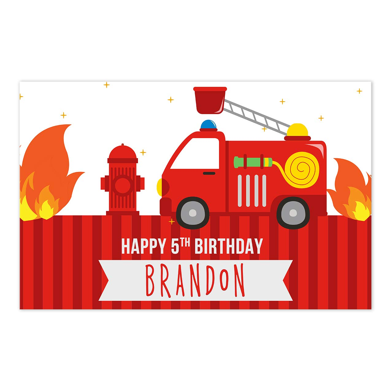 Fire Truck and Stripes Birthday Personalized Party Table Placemat Decoration