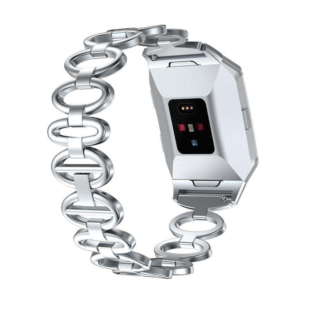 AloneA Luxuriousステンレススチールアクセサリー時計バンドストラップメタルバンドfor Fitbit Ionic  シルバー B077NYVNS9