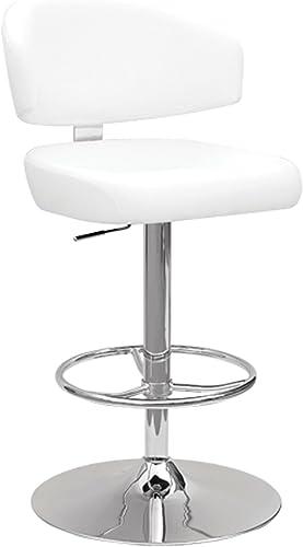Major-Q Contemporary Style White PU Chrome Finish Swivel 26 – 35 Adjustable Bar Stool
