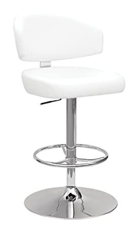 Major-Q Contemporary Style White PU Chrome Finish Swivel 26 – 35 Adjustable Bar Stool 9096258