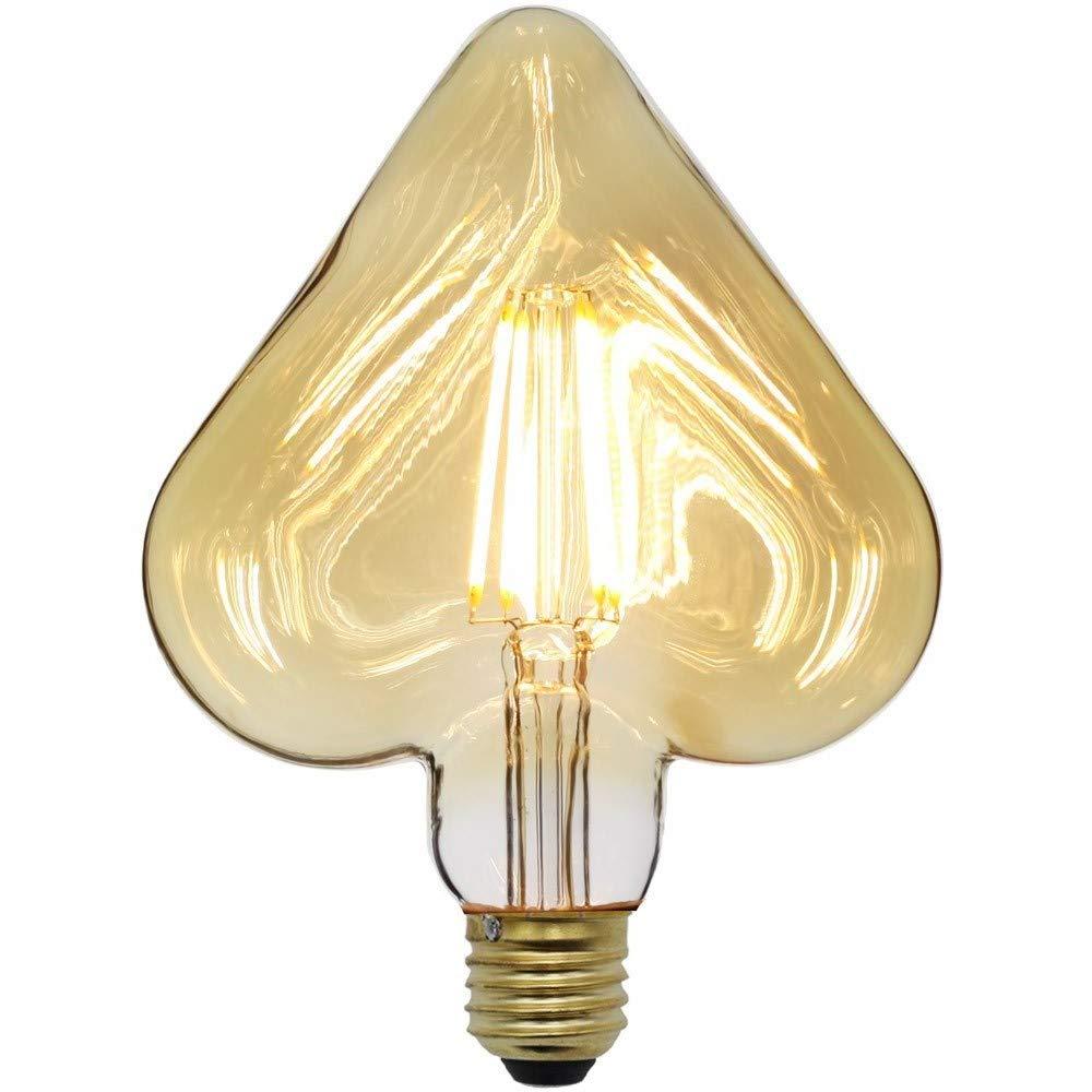 TIANFAN Vintage Led Bulb 4W Edison Led Filament Bulb 2500K Warmth Glow 220//240V E27 350LM Heart Decorative Light Bulb