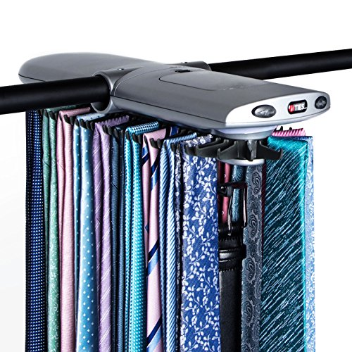 Motorized Tie Rack w/ Dual LED Lights - Electric Motor Automatically Rotates Up to 72 Ties & 8 Belts, Includes Mounting Kit & J-Hooks for All Closet Types [New & Improved 2018 Model]