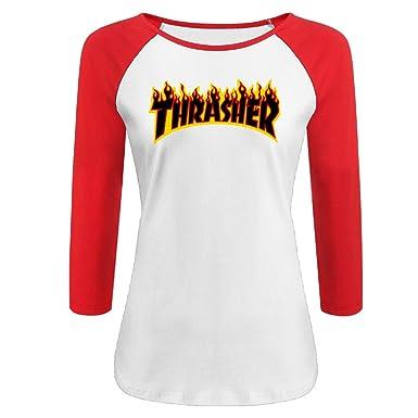 Amazon.com  Liying Women s Thrasher Magazine Flame Logo Three-Quarter  Sleeve Cotton Shirt XL  Clothing 4c0ec8f7e5