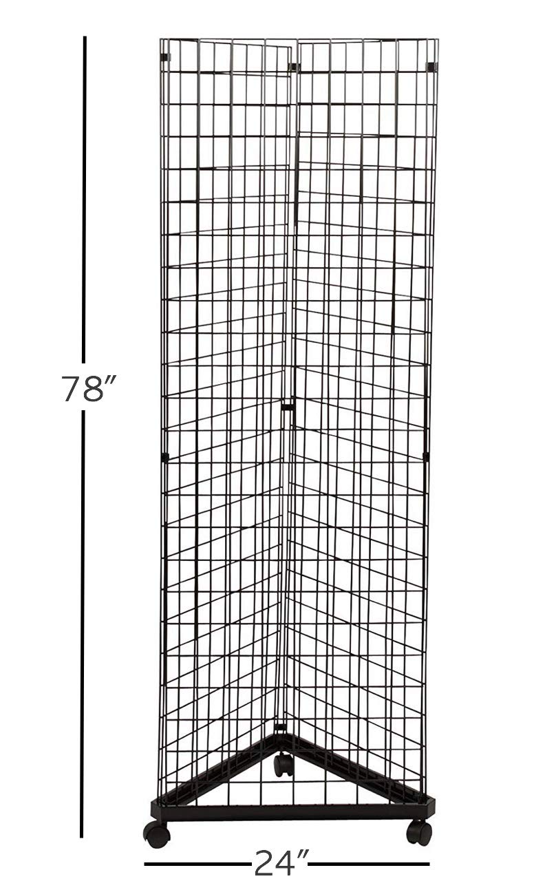 Only Hangers Black Triangle Wire Gridwall Panel Display Rack with Casters