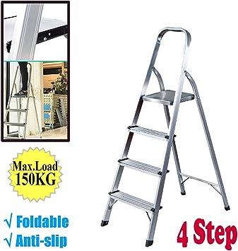 Escalera de 4 peldaños, ligera, plegable, para interiores ...