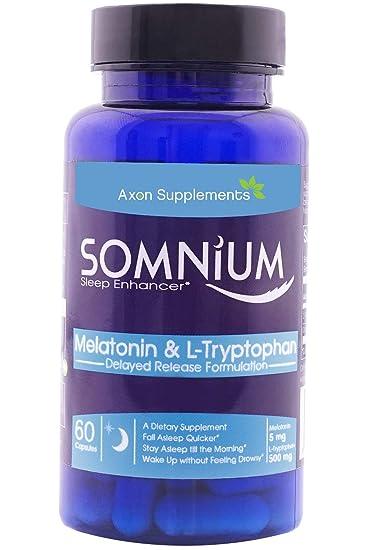SOMNIUM | Melatonin & L-Tryptophan | 60 Non-Habit Forming Capsules | Non