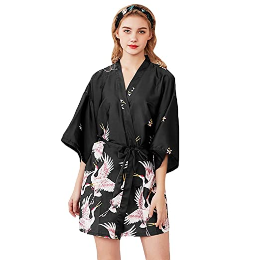 902ff2c7e5 Women Sleepwear Silk Robe Bridal Dressing Gown Wedding Bride Bridesmaid  Kimono Nightgown (M