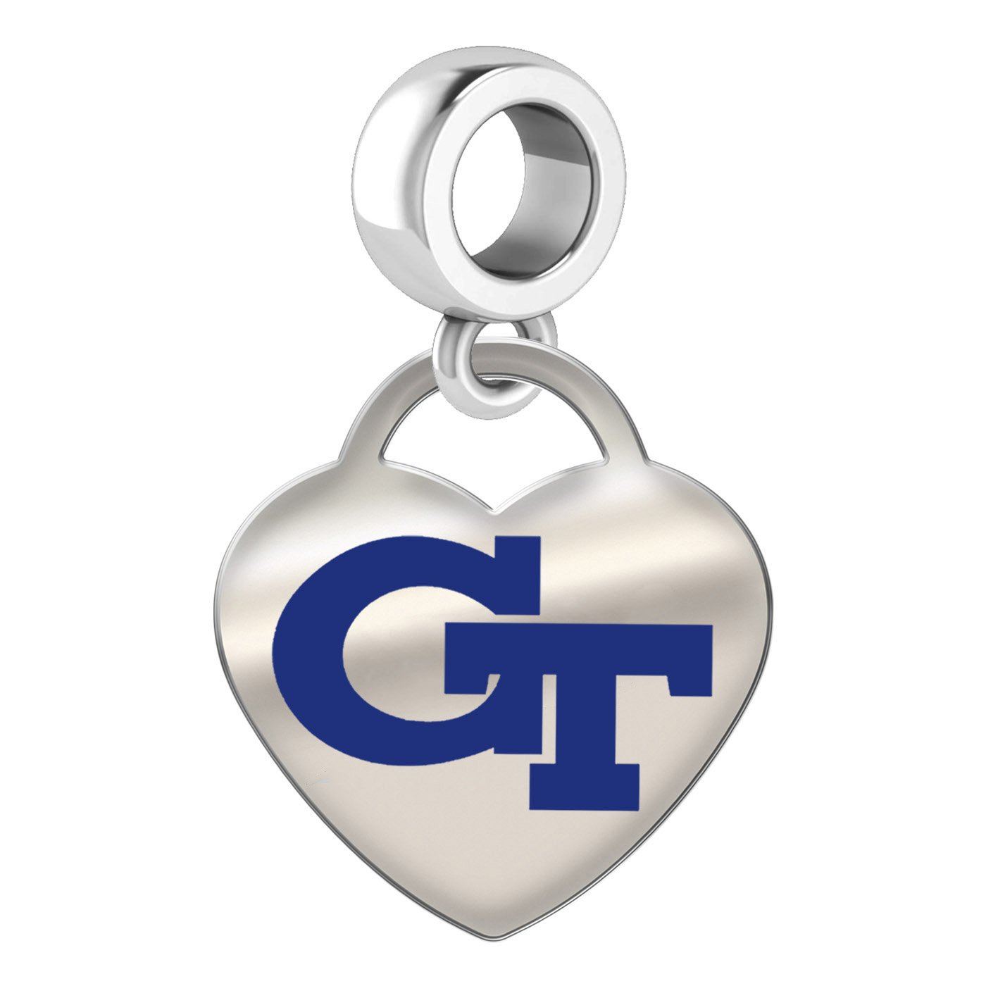 Georgia Technology Yellow Jackets Sterling Silver Color Heart Dangle