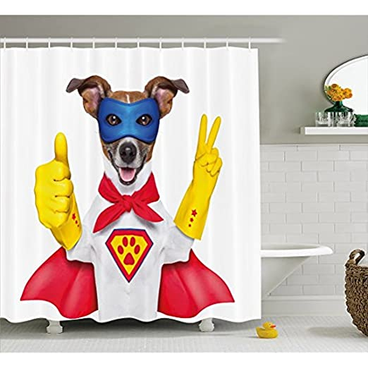 Yeuss Cortina de ducha Superhéroe por Super Puppy Hero Dog en capa ...