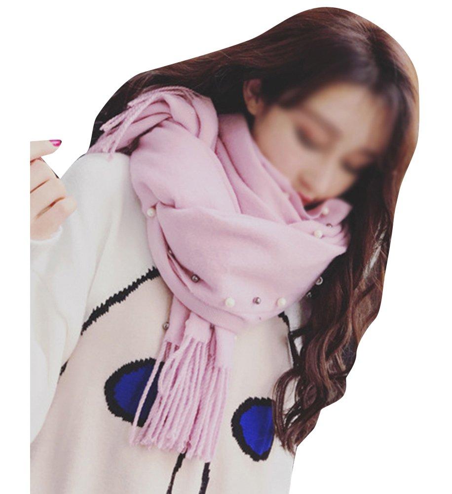 Mujeres Largo Estolas Bufandas Mantener Caliente Mantón Color Sólido Elegante Borla Chales Pink 210CM * 70CM