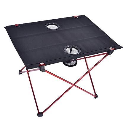 Suyi Ultralight mesas plegables de viaje plegables de viaje con portavasos, marco de aleación de