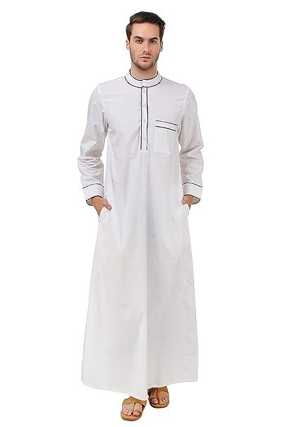MyBatua algodón Blanco Galabiyya, Trajes de los Hombres ...