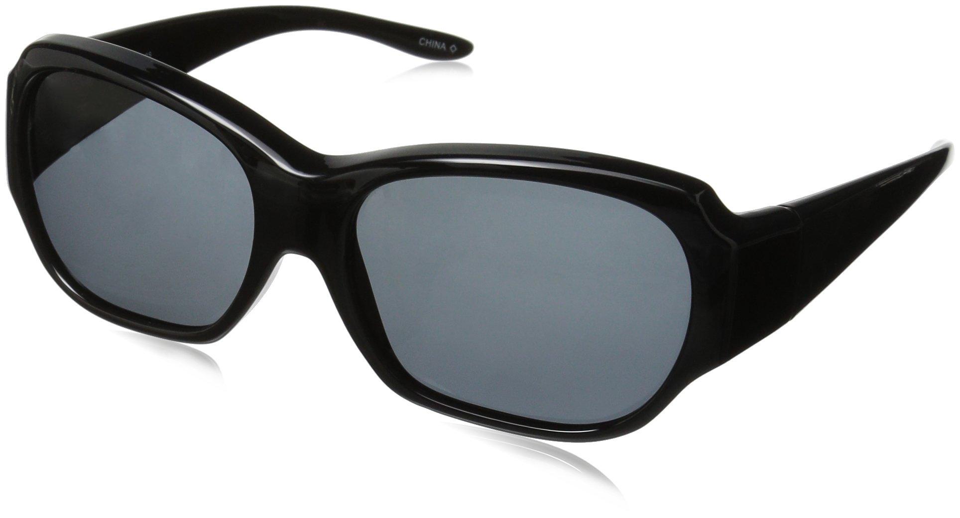 Solar Shield Santa Monica Polarized Rectangular Sunglasses, Black, 59 mm