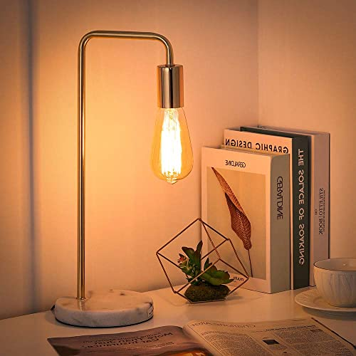 Shinoske Industrial Desk Lamp, Edison Bulb Nightstand lamp Bedside Table Lamp with Marble Base for Bedroom, Living Room, Dorm, Office – Without Bulb Gold