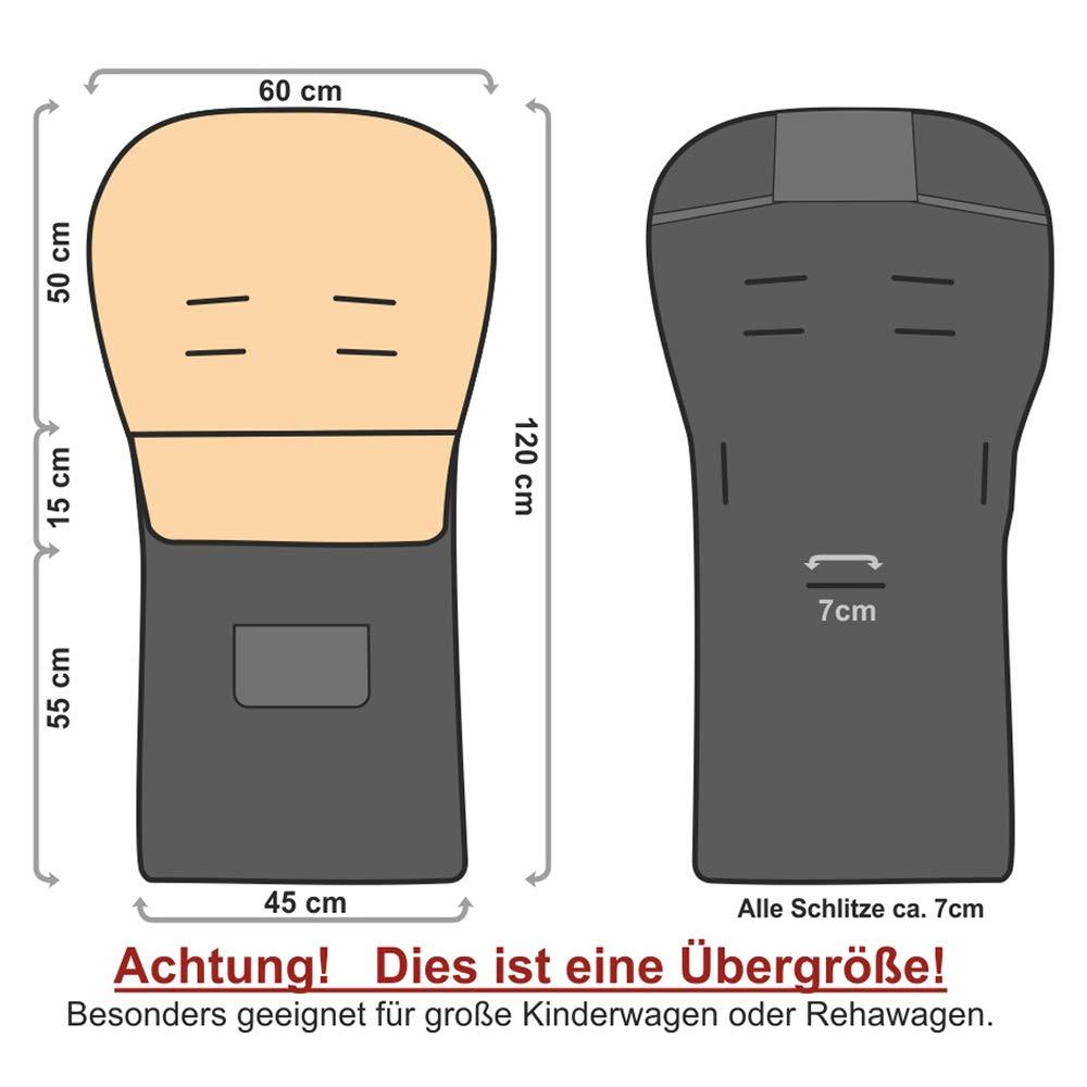 01 schwarz Baby-Joy Fu/ßsack KAI 120cm /Übergro/ß XXL FILZFREI Lammwolle//Acrylwolle Thermofu/ßsack f/ür Buggy Kinderwagen Schlitten