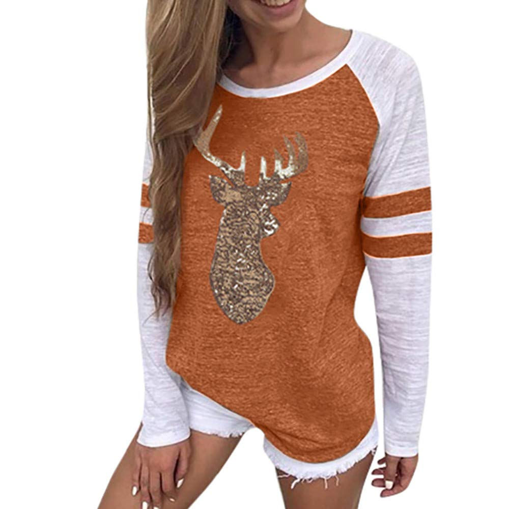 Womens Tops Clearance Liraly New Fashion Women Ladies Long Sleeve Splice Blouse Tops Clothes T Shirt(Orange #,US-4 /CN-S)