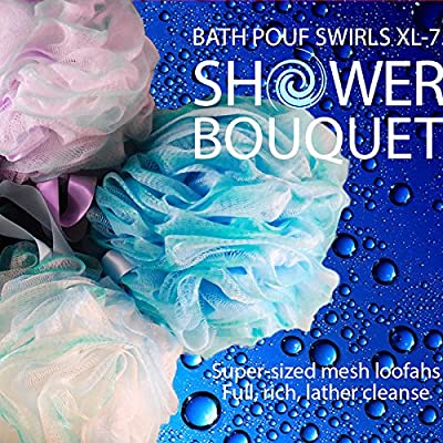Loofah Bath Sponge Swirl Set XL 75g by Shower Bouquet: Extra Large Mesh Pouf (4 Pack Color Swirls) Luffa Loofa Loufa Puff Scrubber - Big Full Lather Cleanse, Exfoliate with Beauty Bathing Accessories