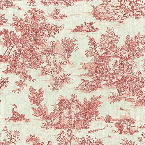 Textiles francais Mini Toile de Jouy Fabric (La Vie Rustique) - Antique Red on a soft, linen-look base cloth | 100% Cotton Designer Print | 61 inches wide | Per yard length increment