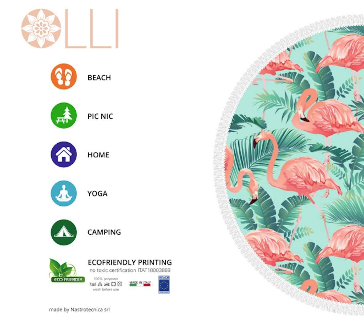 Ronde avec Franges 100/% Microfibre Multicouleur- Flamant Tropical Olli Serviette de Plage ECO Friendly Multi-Usages de Grande Taille Diam/ètre 156 cm Made in Italy