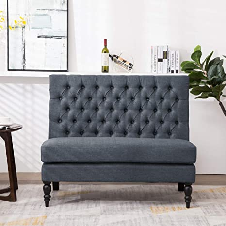 Remarkable Andeworld Modern Tufted Button Back Upholstered Settee Loveseat Grey For Dining Room Hallway Or Entryway Seating Gmtry Best Dining Table And Chair Ideas Images Gmtryco