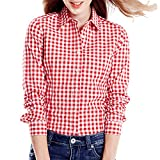 Cekaso Women's Gingham Shirt Cotton Slim Fit Long Sleeve Button Up Plaid Shirt, Red, USsizeM=TagsizeXXL