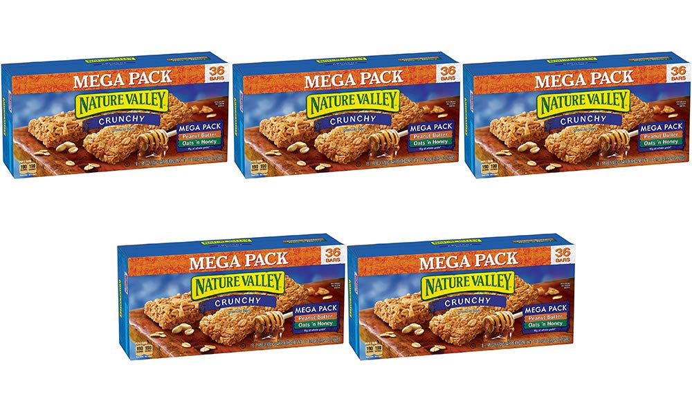Nature Valley Granola Bars, Crunchy, Mega Pack of Peanut Butter and Oats 'n Honey, 36 Bars (5 Boxes) by Nature Valley