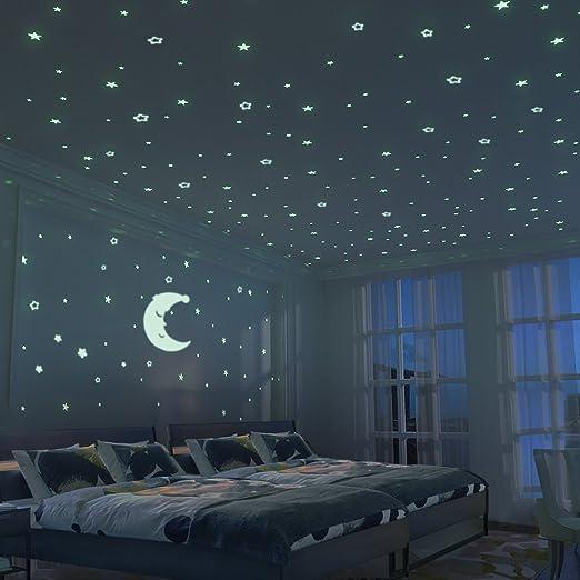 2 opinioni per Stelle fluorescenti e grande luna (24cm)- 300 pezzi Adesivi da parete