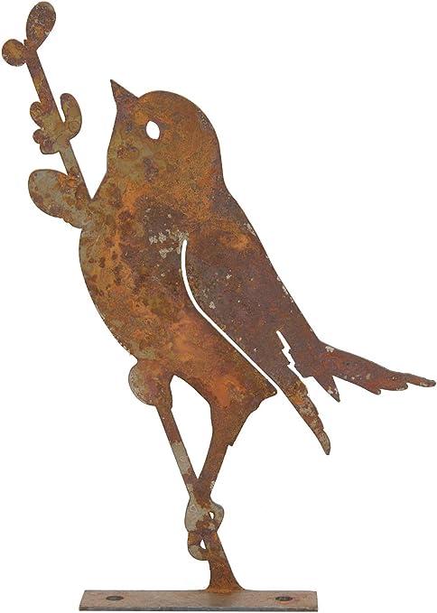 Gartendeko Vogel Mit Zweig Baumtier Metall Rost Deko Verrostet