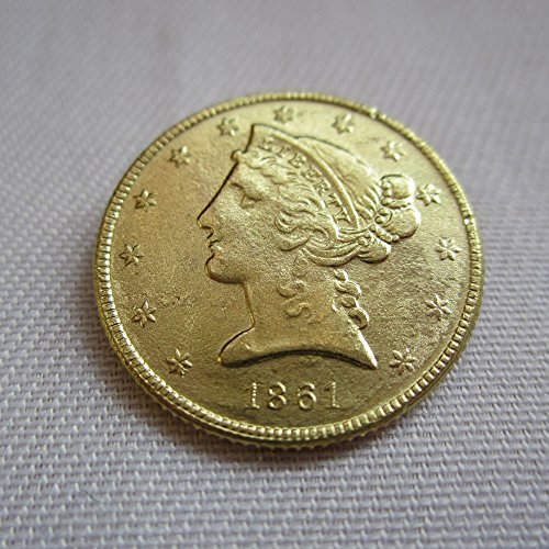 1861-C USA $5 Gold-plated (Half Eagles) Liberty Head coins COPY
