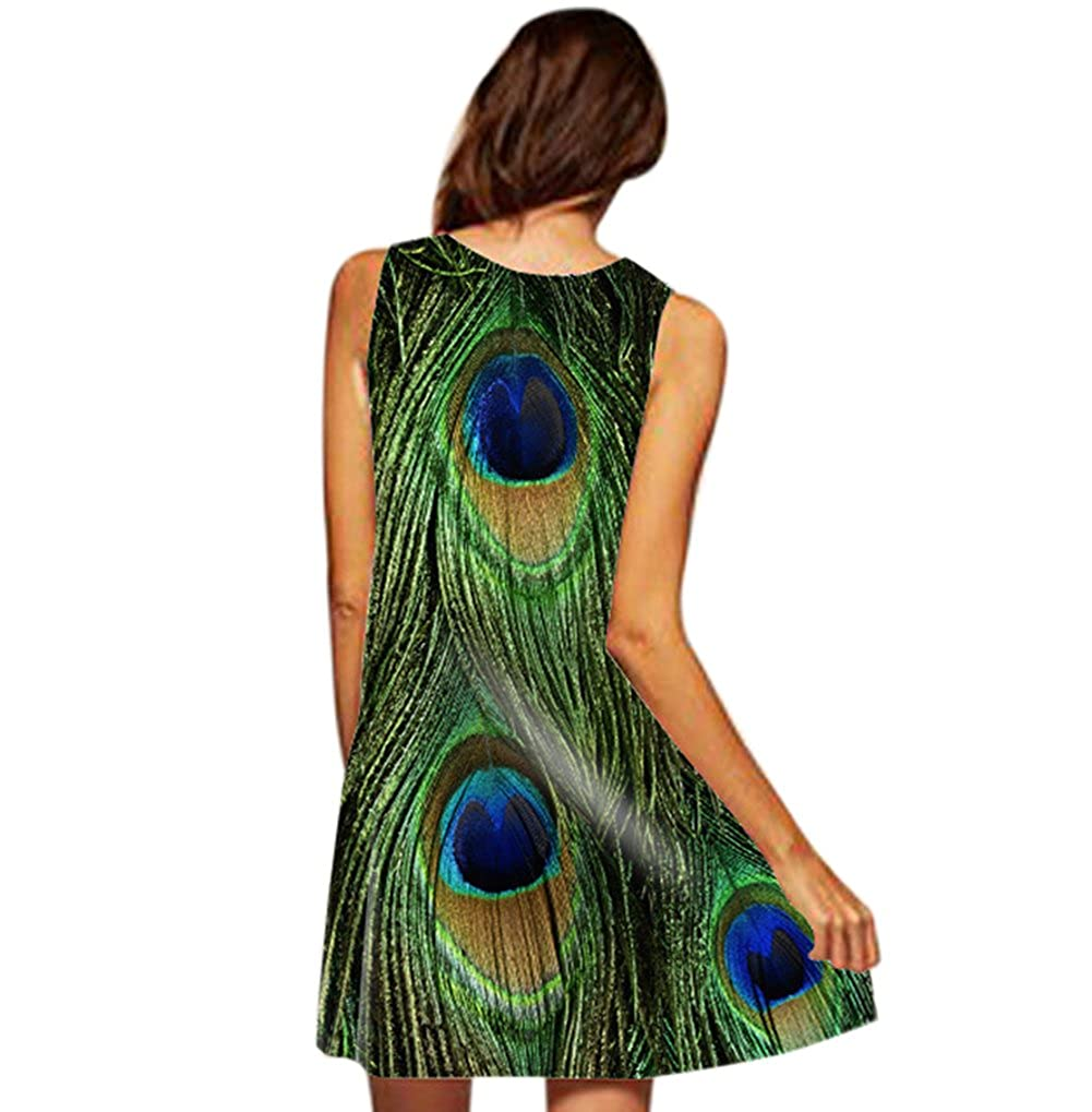 ad240c55be2 RARITYUS Women s Fashion Sleeveless Floral Print Round Neck Summer Loose Dresses  Peacock Feather Pattern at Amazon Women s Clothing store