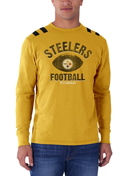 6120b11c Amazon.com : Pittsburgh Steelers 47 Brand Galley Gold Bruiser Long ...