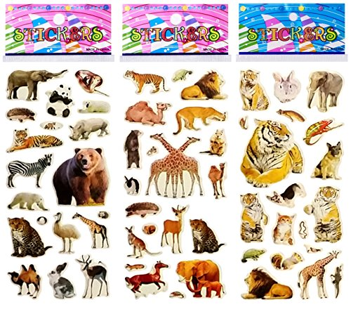 6 Sheets Puffy Dimensional Scrapbooking Party Favor Stickers + 18 FREE Scratch and Sniff Stickers - ANIMALS FARM WILD - Animal Scrapbook