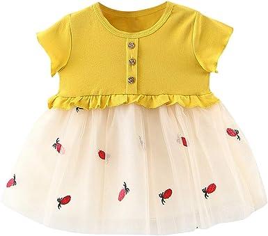Berimaterry Vestido de niña, Vestido para Bebés Ropa Impresa de Camisa y del Vestido del Gato Muchacha Encantadora Ropa de Bebe niña Verano Vestido Esponjoso de Nina Falda de Rayas de Encaje: